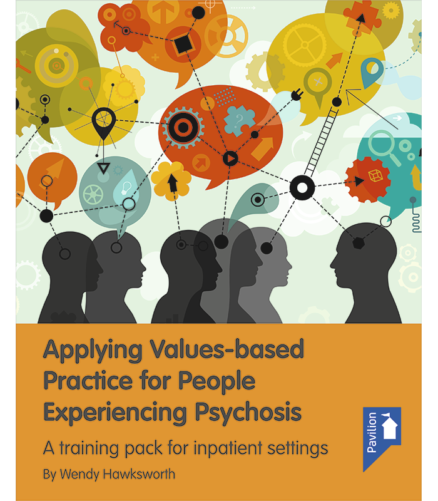 Cover of the book - Applying Values-Based Practice for people experiencing Psychosis - A training pack for inpatient settings