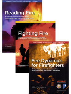 Three book covers from the Compartment Firefighting series