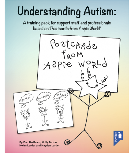 Cover of the book - Understanding Autism - A training pack for support staff and professionals based on 'Postcards from Aspire World'