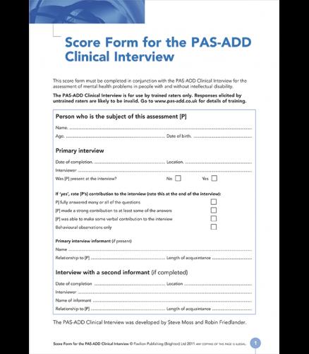 PAS-ADD Clinical Scoreform