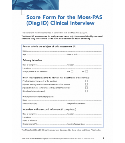 Page 1 of Moss PAS DiagID Score Form