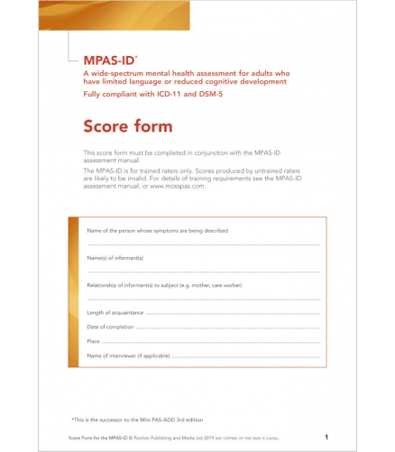 Page 1 of Moss PAS ID Score Form